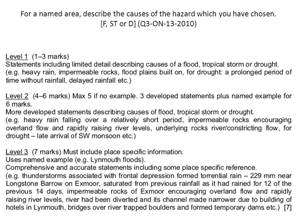 For a named area, describe the causes of the hazard which you have chosen. [F, ST or D] (Q3-ON-13-2010)